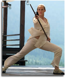 After all the hard work in training, Jennifer fought hard with the bo stick.