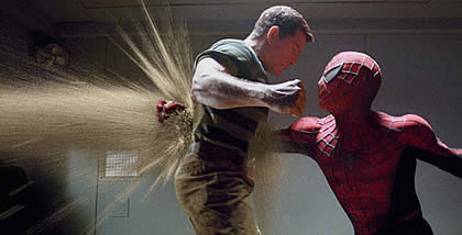 Spiderman's ineffectual punch against Sandman in Spiderman 3