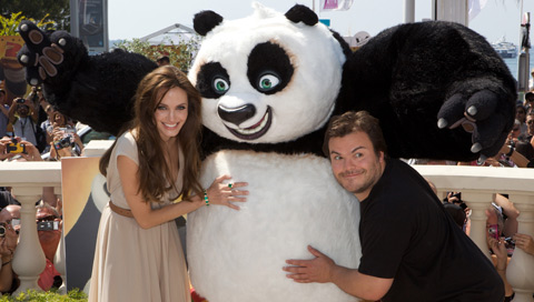 Angelina Jolie, Po and Jack Black at the Festival de Cannes