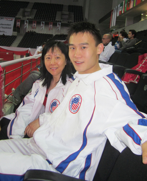 Colvin and his mother in the stands at the 11th WWC