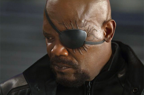 Samual L. Jackson as superspy Nick Fury