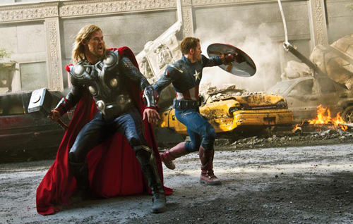 Captain America and Thor fighting to save the world