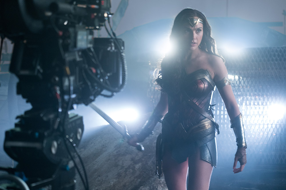 Gal Gadot as Wonder Woman, on the set of Justice League