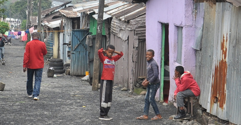 Boys in shanty town